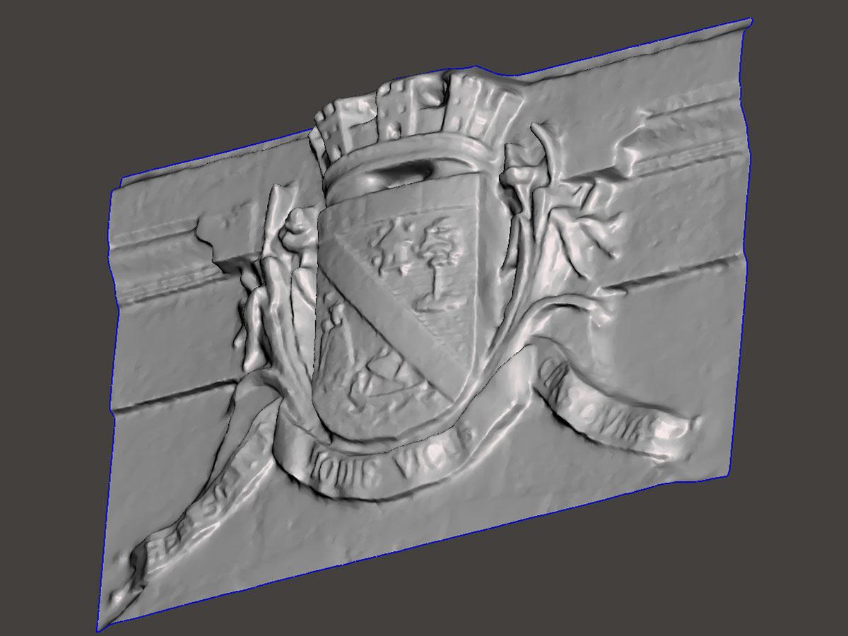escáner 3D - ornamentas de facahadas - escudo | BIM ESCANER
